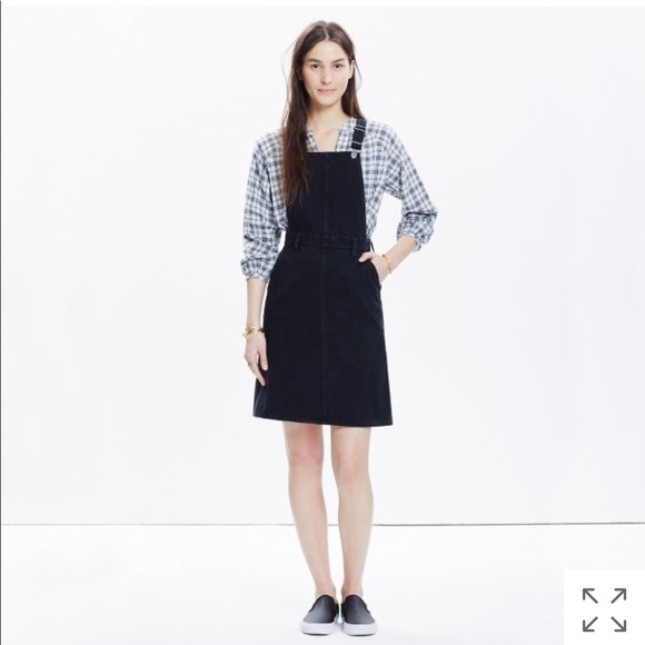 special selection of cost charm attractivefashion Madewell Denim Jumper Dress In Washed Black